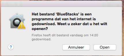 BlueStacks warning window