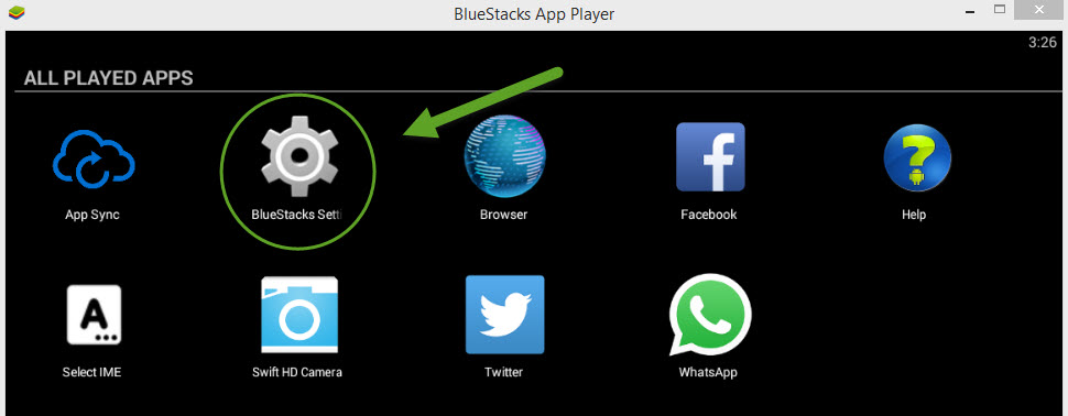 Click the BlueStacks Settings button