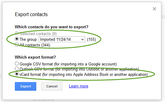Create vcard export file in Google contacts