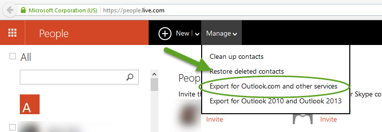 Export contacts from Windows Live People